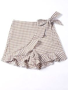 Bowknot Plaid Flat Zipper Mid Loose Fashion Self Tie Vichy Ruffle Shorts - Mode Féminine Gingham Shorts, Patterned Shorts, Shorts Altos, Short Infantil, Short Niña, Culotte Shorts, Girl Outfits, Cute Outfits, Kid Outfits