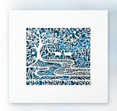 """My Soul Loves - Hebrew Papercut. Wedding gift. Engagement gift. by David Fisher. I Have Found the One whom my soul loves. Ready for framing, this original design by Jerusalem artist David Fisher is a stunning work of art that will draw gasps of wonder from all who behold it! It features a pair of deer set amidst a mesmerizing pomegranate tree motif, while the Hebrew text quotes the timeless verse from King Solomon's Song of Songs, Matsati Et Sheahava Nafshi (""""I have found the one whom my..."""