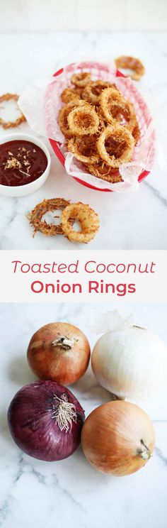 Toasted Coconut Onion Rings - A Beautiful Mess Dinner Side Dishes, Snack Recipes, Snacks, Toasted Coconut, Beautiful Mess, Onion Rings, A Food, Food Processor Recipes, Yummy Food
