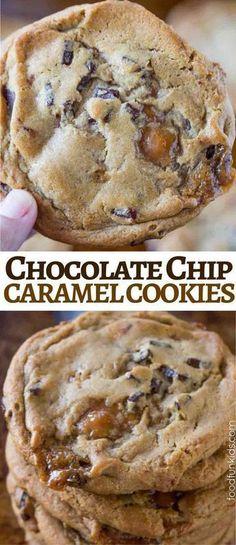 Caramel Chocolate Chip Cookies Carmel Chocolate Chip Cookies, Carmel Cookies, Carmel Brownies, Chocolate Caramels, Chocolate Snacks, Baking Recipes, Christmas Baking Ideas Cookies, Christmas Baking For Kids, Chistmas Cookies
