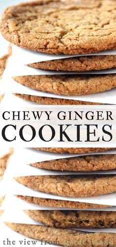 Chewy Ginger Cookies are the ultimate fall and holiday cookie full of warm spices and molasses theyre crisp on the outside and nice and chewy inside. - Chewy Candy - Ideas of Chewy Candy New Year's Desserts, Holiday Desserts, Delicious Desserts, Yummy Food, Crinkle Cookies, Spice Cookies, Chewy Ginger Cookies, Yummy Cookies, Cinnamon Cookies