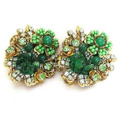 Stunning Stanley Hagler NYC Green Rhinestone & Glass Bead Floral Gold Tone Earrings, 1950s Signed