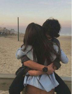 beach, boy, girl, hair brown, hug