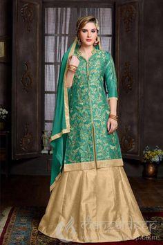 Teal Green Banglori Silk Embroidered Salwar Suit