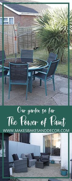 Our Garden so far - the power of paint pin Garden Painting, Cuprinol Urban Slate, Corrugated Metal Fence, Outdoor Dining, Outdoor Decor, Extra Rooms, Outdoor Cushions, Small Patio