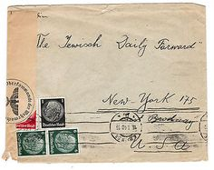 JUDAICA COVER HOLOCAUST ENVELOPE SENT TO THE JEWISH DAILY FORWARD NAZI CENSOR