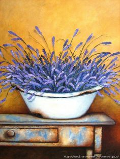 Lavender by Stella Bruwer Painting Tips, Painting On Wood, Painting & Drawing, Vintage Diy, Lavender Flowers, Lavander, Paint And Sip, Country Paintings, Paint Party