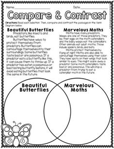 Compare and Contrast Passages-Animals, Insects, Adventures, & Amphibians – Animals Time Reading Comprehension Worksheets, Reading Passages, Reading Strategies, Reading Skills, Comprehension Strategies, 2nd Grade Ela, Teaching First Grade, First Grade Reading, Third Grade