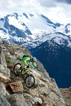 Mountain bike in Whistler, British Columbia. Prepare for the moderately difficult terrain at Whistler Bike Park.