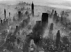 Midtown and Lower Manhattan covered in smog, New York, c.1955