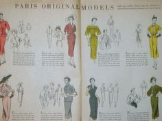 Vogue 1098 (Schiaparelli) and Vogue 1099 (Jacques heim), below Vogue 1101 (Paquin) and Vogue 1104 (Lanvin) on the left page   Vogue 1100 (Piguet) and Vogue 1102 (Jacques Fath), below Vogue 1103 (Pierre Balmain) and Vogue 1105 (Molyneux) on the right page