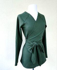 Wrap shirt - long sleeve top - knit shirt - green wrap top - yoga wrap around sweater - sweatshirt organic cotton for women on Etsy, $85.00