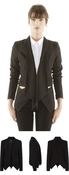 This tailoring crepe black blazer is a Fall season essential! Classy Outfits, Cool Outfits, Casual Outfits, Fashion Outfits, Womens Fashion, Eleven Paris, Wedding Outfits For Women, Jackets For Women, Clothes For Women