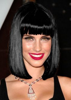 jessica lowndes, long bob with bangs