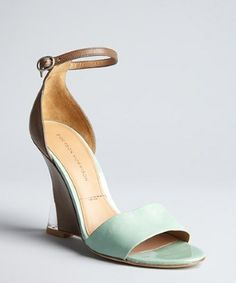 Sigerson Morrison beryl and brown leather 'Dali' wedge sandals | BLUEFLY up to 70% off designer brands at bluefly.com