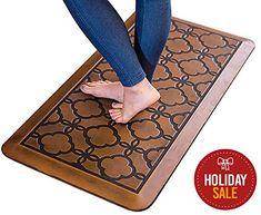 Urvigor Anti Fatigue Comfort Mats Kitchen Floor Mats Standing Mat for Standup Desks, Kitchens, and Garages , Antique Light Flower Pattern (20x39x3/4-Inch, Antique)