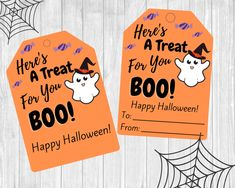 This listing includes 2 digital downloadable PDF Files each containing 9 Halloween Ghost gift tags. These are perfect to attach to a gift for your staff, co-workers, neighbors, friends, or your child's teachers. Halloween Ghosts, Happy Halloween, Cute Ghost, Gift Tags Printable, Goodie Bags, Starting A Daycare, Preschool, Pdf, Hole Punch