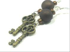 Skeleton Key Brown Satin Bead Earrings by cynhumphrey on Etsy, $6.50