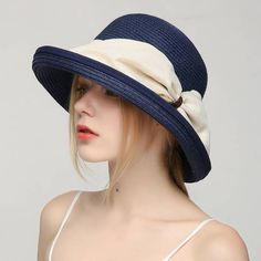 Large bow straw hat for women UV beach crimping sun hats package 6970a3a52445