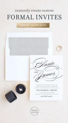 Design the perfect formal wedding invitations for any wedding with elegant typography and clean lines. Also add a pop color with your choices of over 160 different color choices as well as 100 different fonts to make it uniquely yours. Mountain Wedding Invitations, Wedding Invitation Trends, Watercolor Wedding Invitations, Elegant Invitations, Invitation Design, Wedding Stationary, Invite, Polaroid Wedding, Wedding Frames