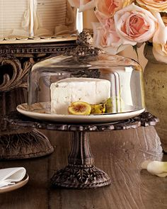 Cheese/Dessert Dome & Pedestal by GG Collection at Neiman Marcus.