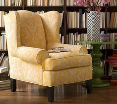 DIY reupholstering for wingback chair.  One day, maybe when we live in a house, I may try this. I am so tired of looking at the haggard fabric on my Goodwill wingback.