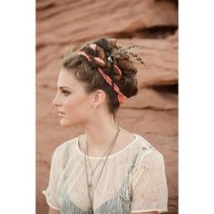 Braids with ribbon and feathers « found on Polyvore