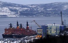 Atomic icebreakers Russia and Yamal are seen moored at Atomflot base in Murmansk
