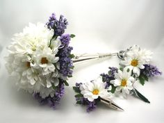 Daisies and Lavender Bridal Package made to by FlowersForThought, $167.00