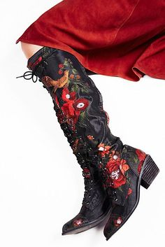Slide View 1: Floral Joe Lace Up Boot.  $298 at Free People.  If I could justify the purchase of these to myself, they would be mine!