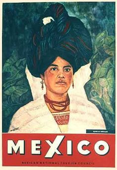 1962 Cuetzalan Mexico Vintage Mexican Woman Travel Poster
