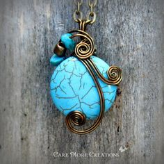 Wire Wrapped Pendant Blue Crazy Lace Agate Necklace by CareMore