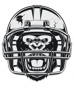 Aggressive Gorilla by Andrey1005 The fierce gorilla in the American football helmet. Vector graphics Install any size without loss of quality. ZIP archive contai