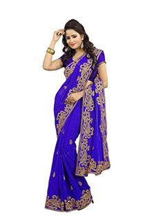 Royal Blue Wedding Wear Saree Zari Embroidery Work Indian Chiffon Sari