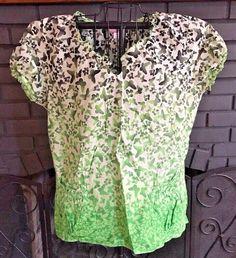 7a8e4e715c9 Koi Nursing Scrub Top Green Black Butterfly Print Women's size XL #Koi  Nurse Scrubs,