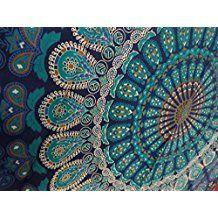 Queen Size Indian Tapestry Bedding, Hippie Mandala Wall Hanging, Bohemian Tapestry Room Decor, Hippie Mandala Beach from Trade Star Exports. Mandala Au Crochet, Peacock Crochet, Manta Crochet, Crochet Feather, Bohemian Tapestry, Indian Tapestry, Mandala Tapestry, Hippie Tapestries, Psychedelic Tapestry