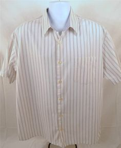 Old Navy Men's Size XL Short Sleeve 100% Cotton White With Gray Strips Shirt