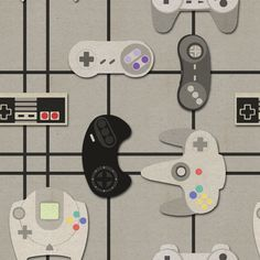 Video Game Geek - Paper Cut-Out Controllers fabric by jaana on Spoonflower - custom fabric