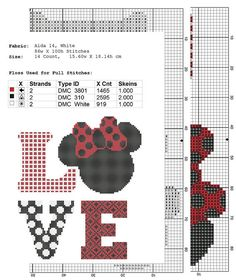 Disney cross stitch pattern Amor descarga instantánea PDF
