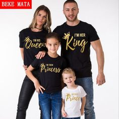 BEKE MATA Family Matching Clothes 2017 Summer New Fashion Father Son T-shirt King Queen Family Look Mother Daughter Clothing Set