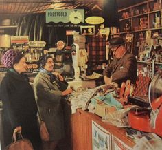 1960s England Older Women Shopping Shopkeeper Vintage Photo Store Interior