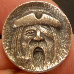 GORDON RAISTRICK HOBO NICKEL - PIRATE - 1937 BUFFALO NICKEL Hobo Nickel, Coin Art, Buffalo, Coins, Carving, Fancy, Money, Rooms, Wood Carvings