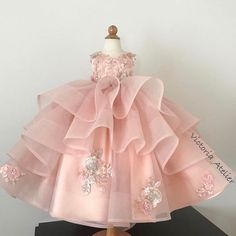 Custom made dress with lace appliqués, long detachable train and matching head piece for little princess from Qatar 👸🏼 🌸✨💎 Little Girl Gowns, Gowns For Girls, Frocks For Girls, Kids Frocks, Little Girl Dresses, Girls Dresses, Flower Girl Dresses, Princess Outfits, Girl Outfits