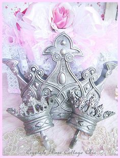 Royal Bed Crown Canopy Set Pewter Finish Shabby Chic Girls Room / Nursery Decor / Womens Bedroom Color Choices Available Prince or Princess on Etsy, $60.00