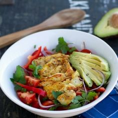 Warm spicy chicken and avocado salad