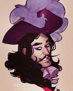 """Love this #pirate #illustration by Mioree (@mioree_) of a very stylish and #suave looking #CaptainHook #PeterPan's #Neverland archenemey and #captain of the #JollyRoger. My guess is that this is a younger version of James #Hook prior to the #Disney movie and the infamous incident where Hook's hand and Peter's #sword had a """"#fight"""" (the hand lost) and the #crocodile was there to snatch and eat the #hand. TickTock  Hook looks so calm and #debonair like he's charming some high-society…"""