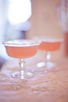 baby strawberry margaritas with sugar rims - best way to go ;)