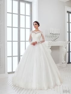 Dress - Sans Pareil Bridal Collection 2016: 934 - Full-sleeve ball gown with lace trimmed sheer neckline and lace appliques on shoulder   SansPareil Bridal