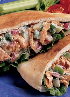 Canned Salmon - Recipes - Salads - Alaska Salmon Sandwich Stuffer - trying this today! Canned Salmon Recipes, Pita Recipes, Lunch Recipes, Seafood Recipes, Salad Recipes, Dinner Recipes, Cooking Recipes, Healthy Recipes, Seafood Dishes