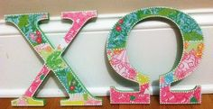 Lilly Pulitzer pattern with pearl accents. Definitely an essential for any Chi Omega room or office!